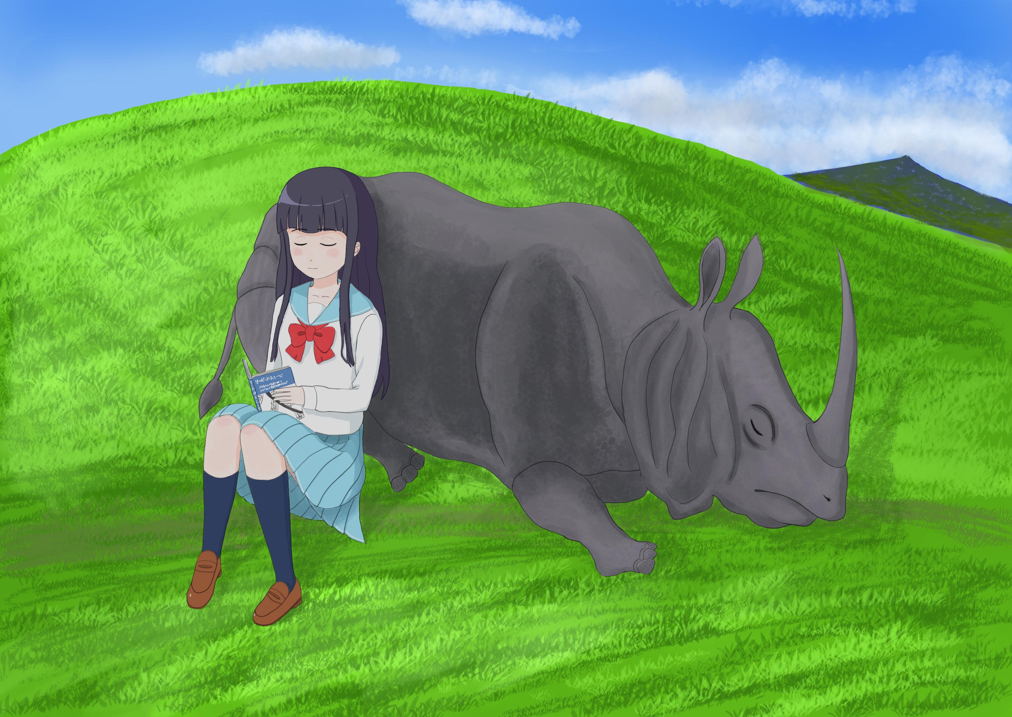 丘の上でサイにもたれかかる女の子のイラストです。