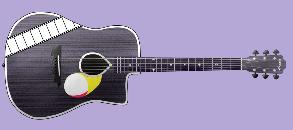 こちらがその画像。黒と紫色をベースにしたシンプルなアコースティックギター。